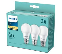 Philips SADA 3x LED Žiarovka Philips A60 E27/8W/230V 2700K