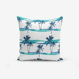 Obliečka na vankúš s prímesou bavlny Minimalist Cushion Covers Blue Green Palm, 45 × 45 cm
