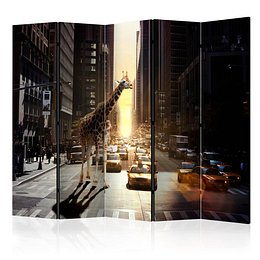 Paraván Giraffe in the Big City Dekorhome 225x172 cm (5-dielny)